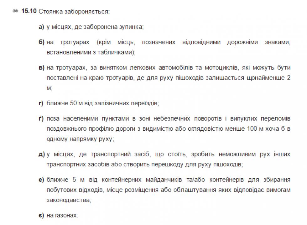 ПДР України. Зупинка і стоянка