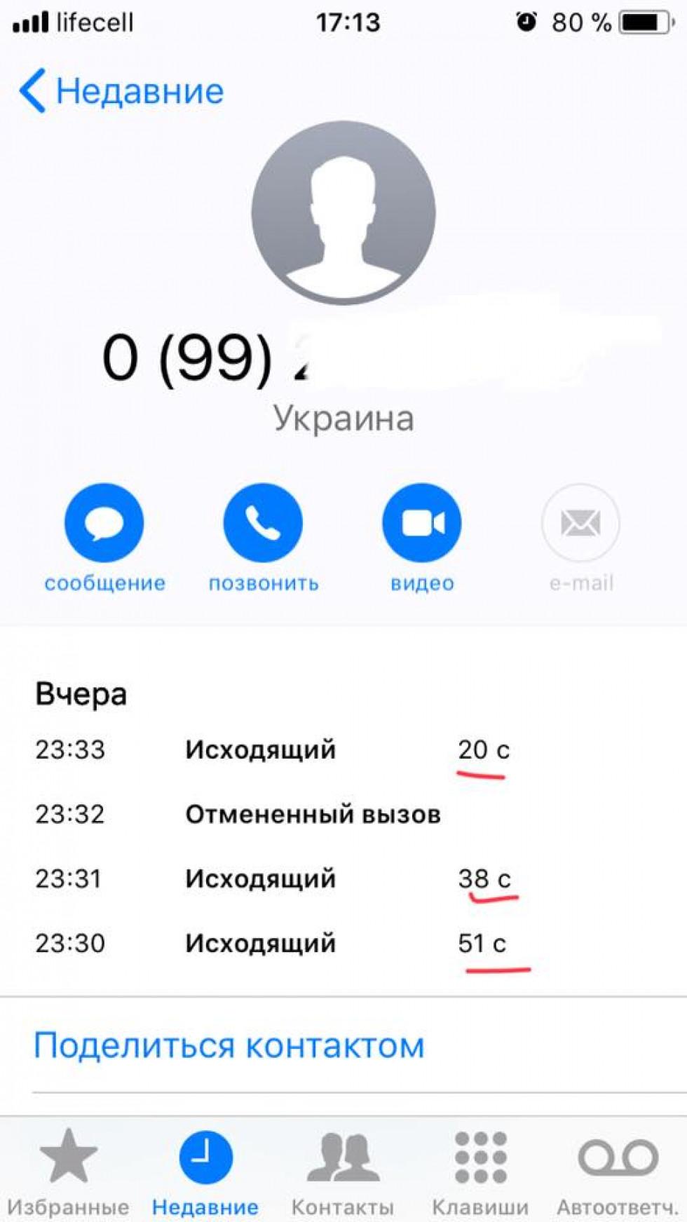 Скрін телефонних розмов