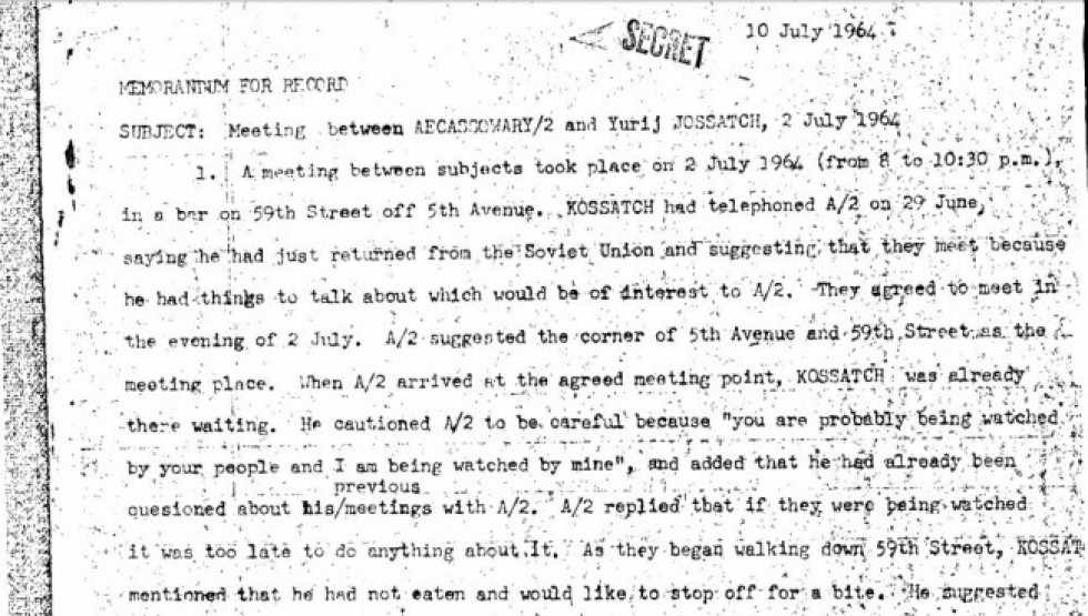 Фрагмент документу про зустріч Юрія Косача з представниками ЦРУ. Джерело: cia.gov